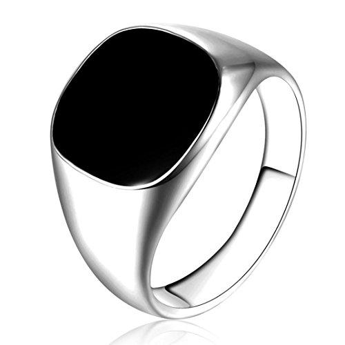 Männer Silber-band-ring Für (Ringe Für Damen Ring Damen Der Herr Der Ringe DAY.LIN Solide poliert Kupfer Band Biker Männer Siegelring schwarz Silber (Silber, Größe: 10))