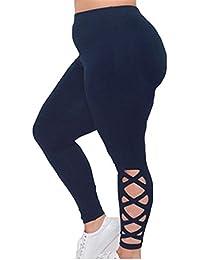 Hibote Damen Übergröße Leggings Jogginghose Frauen Leggins Yoga Hosen Push up Trainingshose Weich Bequem Stoffhose Elatisch Sporthose Fitness Workout Gymnastik Tights
