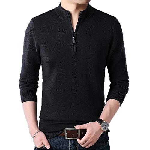 Guyufang Cashmere Sweater Men Clothes Autumn Winter Thick Warm Wool Pullover Men Casual Zipper Turtleneck Pull Black XL -
