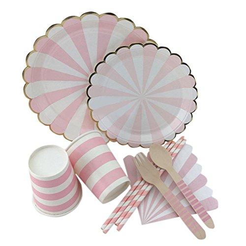 (Remeehi Party Papier Teller Servietten Becher Trinkhalme Einweg Geschirr Metallic Gold Pink Stripe Thema Party Hochzeit Dekor)