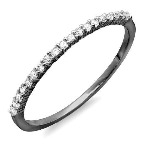 DazzlingRock Collection  -  10 K  Weißgold Rundschliff   I-J Weißer Diamant  (10k Weißes Gold Schwarzer Diamant Ring)