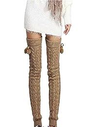 TININNA Calentadores de piernas, para mujer, de invierno, lana cálida, largos,