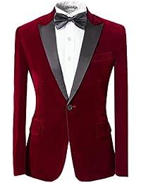 Herrenanzug Samt Optik Blau Rot Knopf Formell Hose Fliege Party Hochzeit