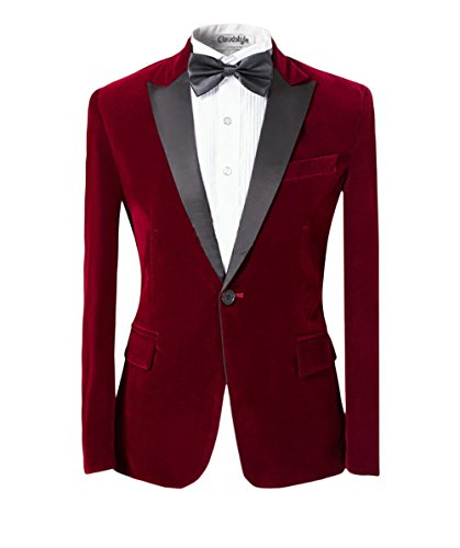 Uomo con risvolto center-vent One-Button Blazer Smoking Tuta Casual Dress Slim Fit Giacche e pantaloni Red