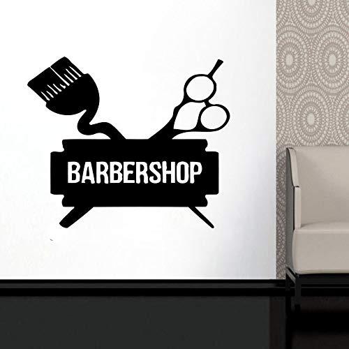 zqyjhkou Personalisierte Barbershop Fenster Aufkleber Männlichen Hipster Vinyl Aufkleber Mann Gesicht Salon Friseursalon Wanddekoration Wandmalereien Ba26 M 46x42 cm