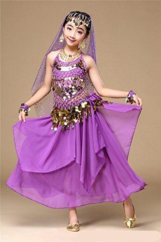 Tanzschule Kostüme (Wgwioo Mädchen Bauchtanz Kleider Sets Kostüme Karneval Elegante Performance Kleid Glänzend Tanzschule , 4 ,)