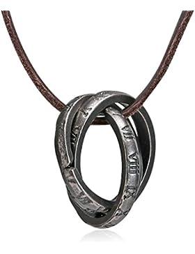 AmDxD Schmuck Herren Halskette Anhänger Edelstahl 3 Ringe Silber Leder Kette Größe 80X2.3X2.3CM