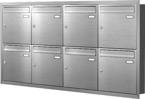 Max Knobloch Unterputz-Briefkastenanlage Express Box UP80-110-E Edelstahl (8 x 12 Liter)