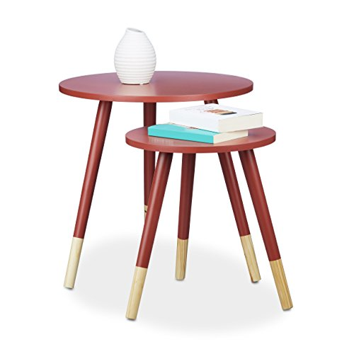 Relaxdays Beistelltisch rund 2er Set, Holztisch Dreibeiner HxD: 48 x 48 cm, matt lackierter Sofatisch f. Wohnzimmer, rot