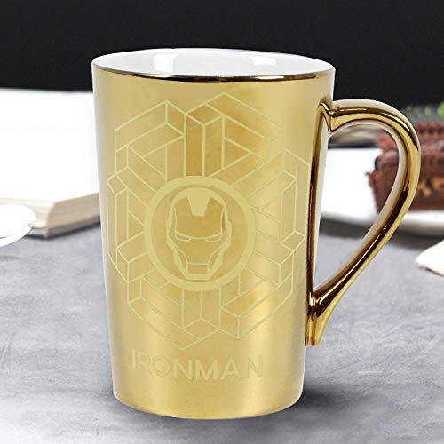 ZHOUQINGCUP Tasse en Porcelaine Céramique Cup_Make Cup Man Wei Tasse en Céramique Spider Man Tasse À Eau Adulte Étudiant Universitaire @ Conventionnel_Golden Iron Man [350Ml]