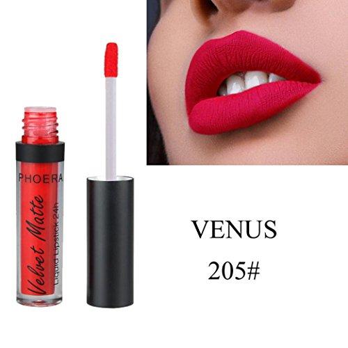 Huihong PHOERA 12 Schattierungen Matt Zum Glitzern  Lippenstift Wasserdicht  Lang Anhaltende Make-Up Lipgloss Sexy Lippe  Farbe (205#) -