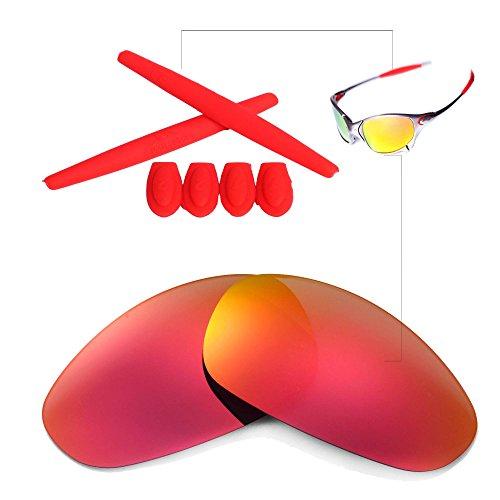 Walleva Linsen und Gummi-Kit (Earsocks + Temple Shocks) Für Oakley Juliet - 11 Optionen (Feuerrot Nichtpolarisierte Linsen + Roter Gummi)