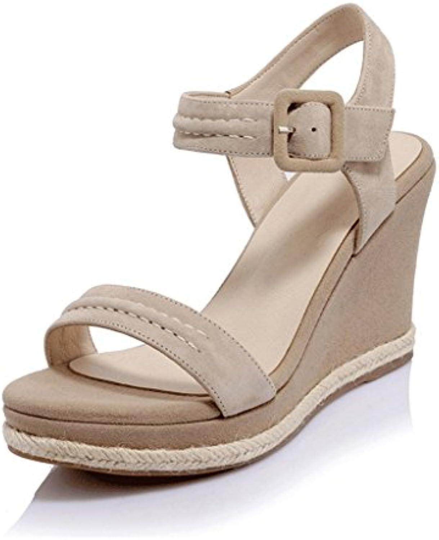 Frauen Wedge Sandalen Fashion Sexy Open-toed High Heels ( Farbe : Aprikose  größe : 36 )