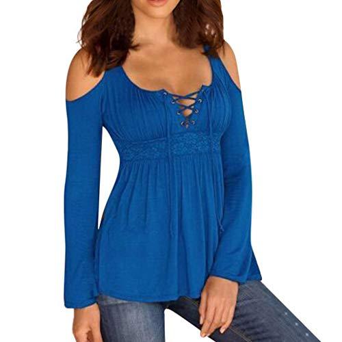 Jiameng magliette donna taglie forti - maniche lunghe cinghie camicia fascia toracica senza spalline t-shirt casual bende solide spalle manicotto pieno tops blouse