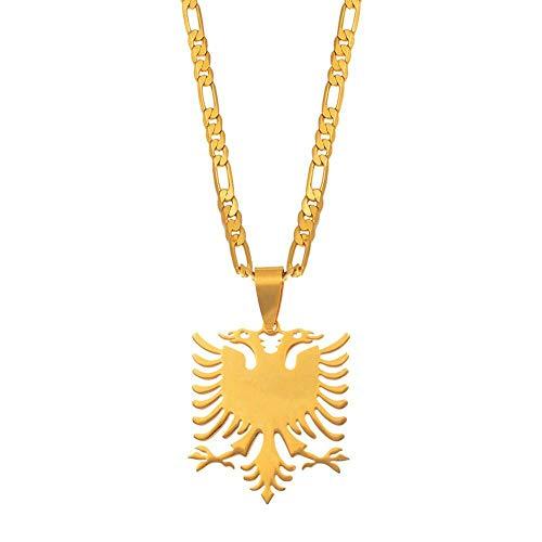 XZZZBXL Map Necklace for Women,Albanien Eagle Karte Anhänger Halsketten Mode Persönlichkeit Für Frauen Männer Mädchen Gold Farbe Charme Karten Schmuck 45 cm (18 Zoll)-Thin_Kette