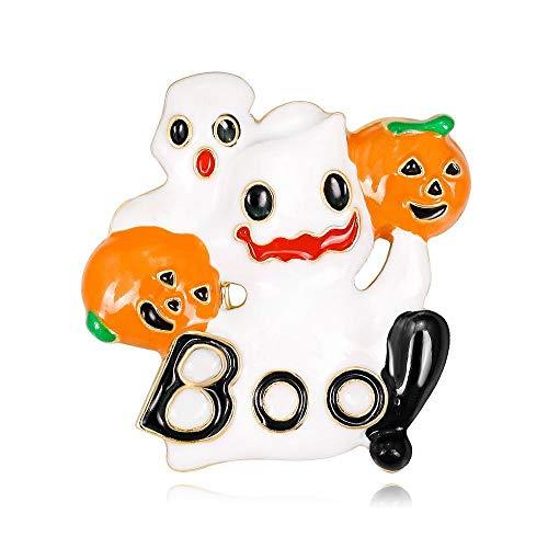 Defect Brosche Halloween-Brosche Europäischen lustige weiße Gespenst Kürbis Kopf Brosche 2 Stück Set -
