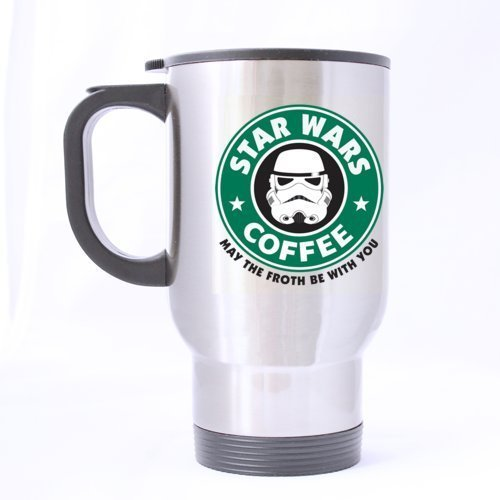 Funny Designed STAR WARS COFFEE MAY THE FORTH BE WITH YOU Stainless Steel Travel Mug Sliver 14 Ounce Coffee/Tea Mug - Personalized Gift For Birthday,Christmas And New Year by Drinkware Mugs