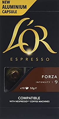 L'OR Espresso Forza, Aluminium Coffee Capsules, Intensity 9 (Pack of 10, 100 capsules in total) by JDE