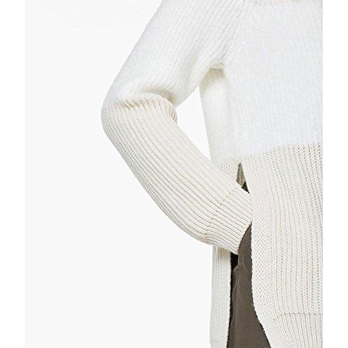 YUYU Fente avant longtemps à longs manches courtes Fashion col chandails picture color
