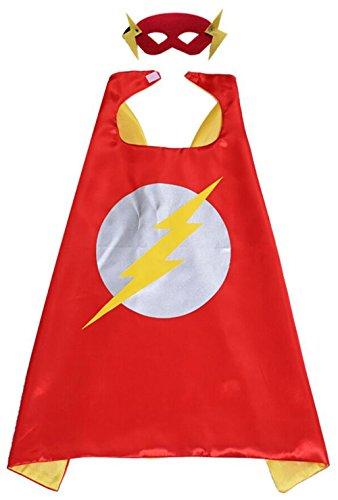 Karnevalskostüm Superhelden Verkleiden Umhang Kinder Kostüm Verkleiden mit Masken für Kinder von 4 bis 6 Jahre (Flash superhelden kostüm, 70cm x 70cm / 27in × 27in)