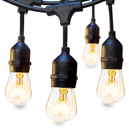 LED lichterkette Außen Lichterkette Set 9 x E27 Fassung Lichtschnur Dekolampe 10m IP65 Wasserdicht Dekolicht für Haus Dekoration, Garten, Party, Hochzeit, Weihnachten, Feier (keine Birne enthält) )