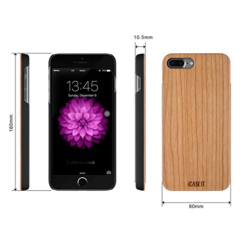 Cherry iPhone 8 / 7 PLUS Holz Hülle - iCASEIT Ultra Slim Echtem Holz Schutzhülle Hart Back Cover Bumper Etui für Apple iPhone 8 / 7 PLUS (5.5 Zoll) Handyschale - DC2209 - Cherry Cherry (FB0311)