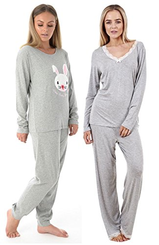 Crazy Girls Ladies Lace Border Long Sleeve Pyjama Set Womens PJ's Nightwear Size 10-20