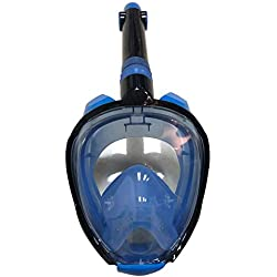 Ensemble de Masque Complet pour Masque Anti-buée Anti-buée Anti-Fuite Masque de plongée à sécurité respiratoire avec Support de caméra détachable pour Adultes ou Enfants(L/XL,Bleu)