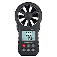 Proster Unisex-Youth Digital Handheld Wireless Bluetooth Vane Anemometer Meter for Measuring Speed Temperature Wind Chill with Backlight, Dark Black