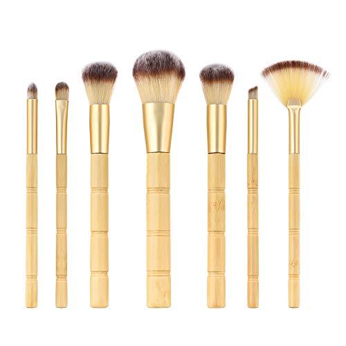 Cdet. 7Pcs Kit De Pinceau Maquillage avec Manche en Bois Brush Cosmétiques Ensemble Fondation Mélange Blush Yeux Visage Poudre Brosse Make Up Style Bambou Couleur du Bois