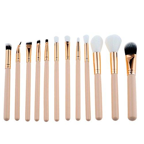 MagiDeal 12pcs Kit de Pinceau de Maquillage Professionnel Brosse Cosmétique à Manche en Bois pour Poudre Fond de Teint Anti-cerne Blush Correcteur Contour