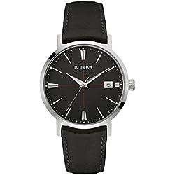 Bulova Men's Designer Watch Leather Strap - Black Classic Aerojet Wrist Watch 96B243