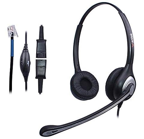 Wantek Corded Telephone RJ Headset Binaural with Noise Canceling Mic