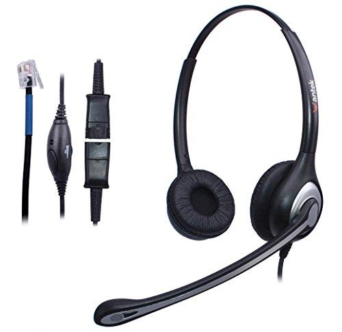Telefon Headset RJ9 Binaural mit Noise Cancelling Mikrofon, Quick Disconnect, WANTEK Call Center Kopfhörer für Plantronics M10 M12 Verstärker oder Cisco 7945 7960 Office IP-Telefone(602QC1) (Schnurloses Telefon Mit Headset-stecker)
