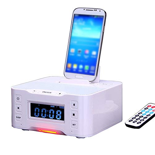 LIGHTOP Docking Station Clock Drahtloser Bluetooth Alarm Ladestation Radio Dock Lautsprecher FM Radio Dock Ladegerät und iPhone/iPad/Mini und Android-Handys