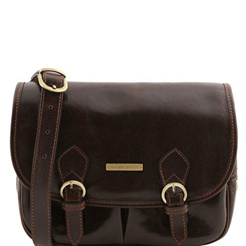 Tuscany Leather Giulia - Sac bandoulière en cuir avec rabat Marron Sacs à bandoulière en cuir Marron foncé