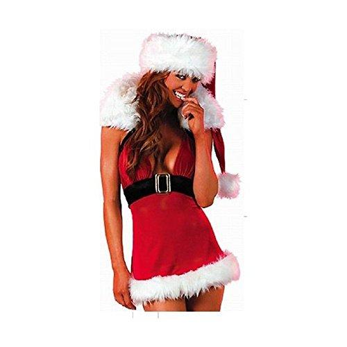 Sexy Woman's Deep V-Neck Mini Kleid Kostüm, Costume Winter Weihnachten Santa Claus, 8, 10, 12, Einheitsgröße