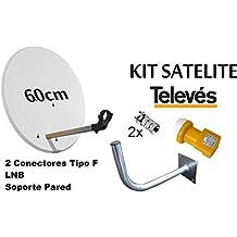 KIT SATELITE TELEVES ASTRA CON DISCO DE PARABOLICA DE 60cm + LNB TELEVES + BRAZO DE FIJACION A PARED Y CONECTORES F