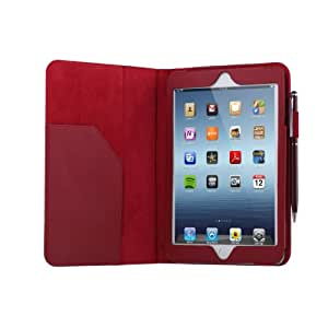 TeckNet® New Apple iPad Mini 2 and iPad Mini 1st Gen Premium Folio Leather Case Cover and Flip Stand With Built-in Magnet for Auto Sleep/Wake Feature Included Screen Protector and Stylus Pen - Wine Red