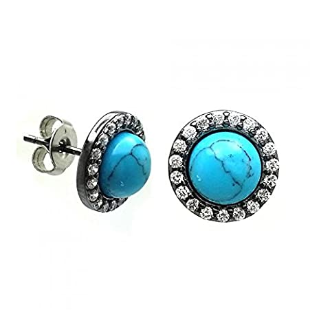 Sterling Silver Black Rhodium Plated Round Clear Cubic Zirconia Turquoise