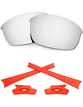HKUCO For Oakley Flak Jacket Silver Polarized Replacement Lenses And Orange Earsocks Rubber Kit