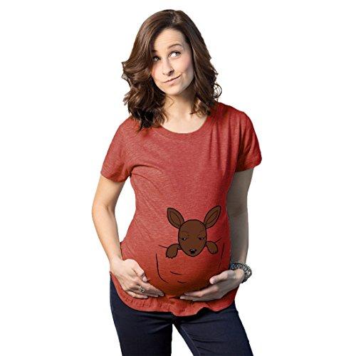 Crazy Dog Tshirts Maternity Peeking Kangaroo Baby Funny Pregnancy Shower Gift T Shirt (Heather Red) L - Damen - L