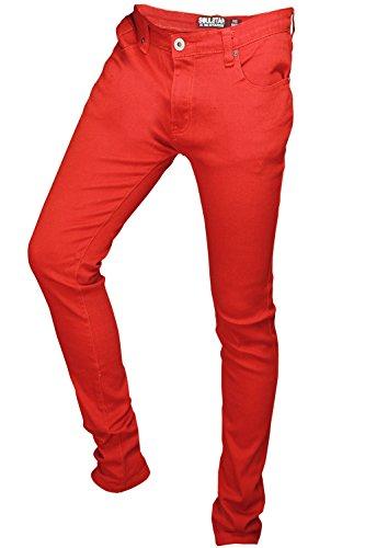 Soulstar MP Deo Herren Designer Farbiger Denim Hautenge Jeans Rot
