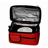 Double Compartment Wine Red Insulated Lunch Bag