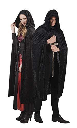 TH-MP Vampir Umhang Cape Hexerin Zauberer Voodoomeister Halloweenkostüm Unisex Damenkostüm Herrenkostüm (Schwarz)