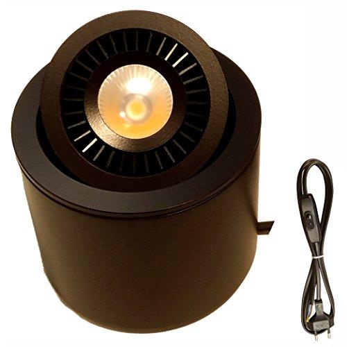 LED Spot Lampe Beleuchtung Bild zum Stellen Konsole oder Waschtisch, schwenkbar – Luke CREE 7 W warmweiß 3000 K 15 °, schwarz, Kordel, 2 Meter 100-240v. LEDart [Energieklasse A+] (Schwarz-konsole-tabelle)