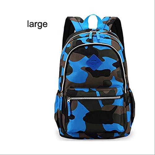 Kinder-sky Blue Camouflage (QYYDSB Neue Jungen Schulrucksack Für Kinder Camouflage Druck Reise Rucksack Kinder Schultasche Mädchen Schultaschen PacksackLarge Sky Blue)