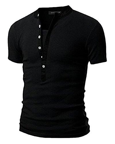 Herren Slim Fit Kurzarm T-Shirt Basic V-Ausschnitt Tee Shaped Tops Schwarz