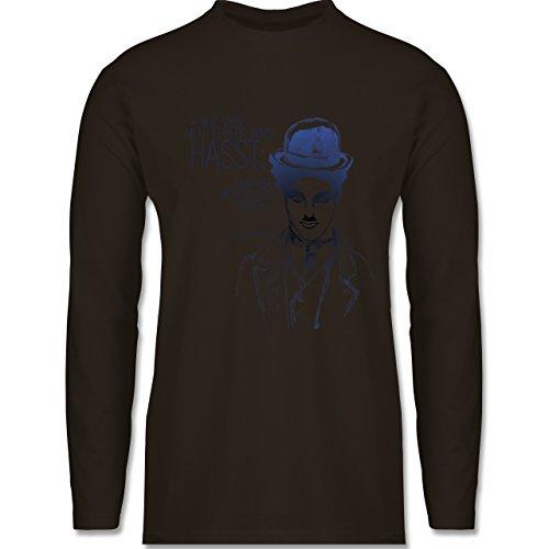 Statement Shirts - Charlie Chaplin - Zitat aus der Rede des großen Diktators (Film) - Longsleeve / langärmeliges T-Shirt für Herren Braun