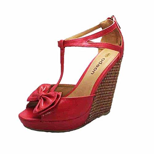 sendit4me Sandali Tacco Alto Cuneo Ladies T-Bar/Scarpe con Plateau e Fiocco Red